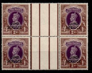 INDIA-JIND SGO84 1942 2r PURPLE & BROWN GUTTER BLOCK OF 4 MNH