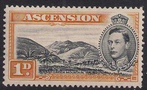 Ascension Island 1938 - 53 KGV1 1d Green Mountain MM SG 39b ( B94 )