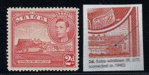 Malta, SG 221bba, MLH, Extra Windows variety