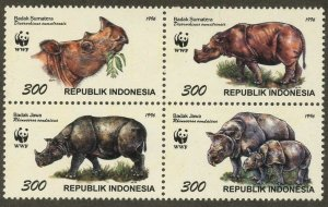 INDONESIA Sc#1673 1996 WWF Rhinoceros Block of 4 Complete Mint NH