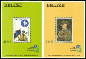 EDW1949SELL : BELIZE 1982 Scott #44-5 Boy Scouts S/S. Very Fine, Mint NH Cat $55