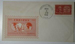 FRESPEX Fresno CA 1958 Philatelic Expo Cachet Cover