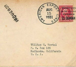 USA MARITIME Cover *AMERICAN EXPORT LINES* Paquebot France 1931{samwells} B87