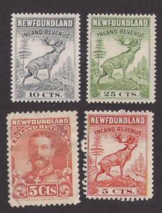 Newfoundland: 4 Inland Revenue stamps #NFR47-48 MNH + #NFR16