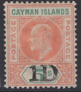 CAYMAN ISLANDS SG19 1907 1d on 5/- SALMON & GREEN MTD MINT