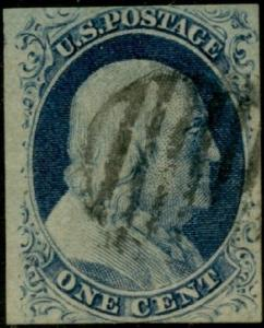 #9 F-VF USED WITH BLACK GRID CANCEL 1¢ BLUE TYPW IV CV $100.00 BQ300