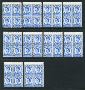 GB QEII 1968  4d Wilding Panes. Matching Set of Doctor Blade Flaws