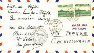 Newfoundland 20c Cape Race (2) 1946 Gander, Newf'd. Pan Am First Flight to Pr...