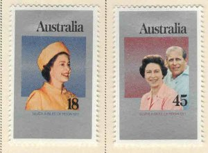Australia Scott 659-660 MH* QE2 25th Anniversary set 1977