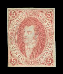 ARGENTINA 1864  RIVADAVIA - clear print -  5c brown rose  Scott # 8  mint MH VF