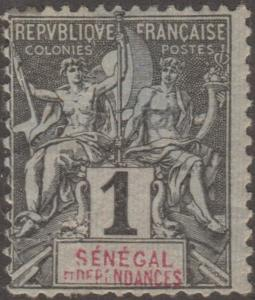 Senegal, stamp, Scott# 35, MH, Grey/black red letters,Perf 14.0 x 13.5,   #M480