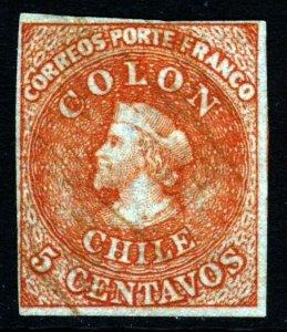 CHILE 1866-1867 5c. COLON Last SANTIAGO Printing Chile #13 Scott #14 SG 36 Wmk 3
