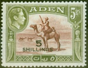 Aden 1951 5s on 5R Red-Brown & Olive-Green SG45 V.F MNH