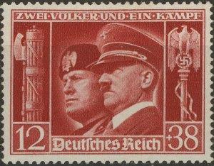 Stamp Germany Mi 763 Sc B189 1941 WWII Adolf Mussolini Italy Berlin Rome MNG