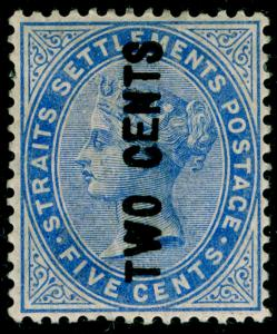 MALAYSIA - Staits Settlements SG78, 2c on 5c blue, M MINT. Cat £170.