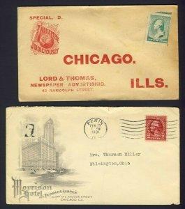 2x USA Chicago Ad. covers L&T Newspaper advert & Morrison Hotel 1931 Pekin ILL.