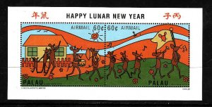 Palau-Sc#386- id2-Unused NH sheet-Year of the Rat-Chinese New Year-1996-