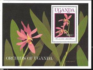 #8217 UGANDA 1990 FLORA FLOWERS ORCHIDS S/SHEET YV BL106 MNH