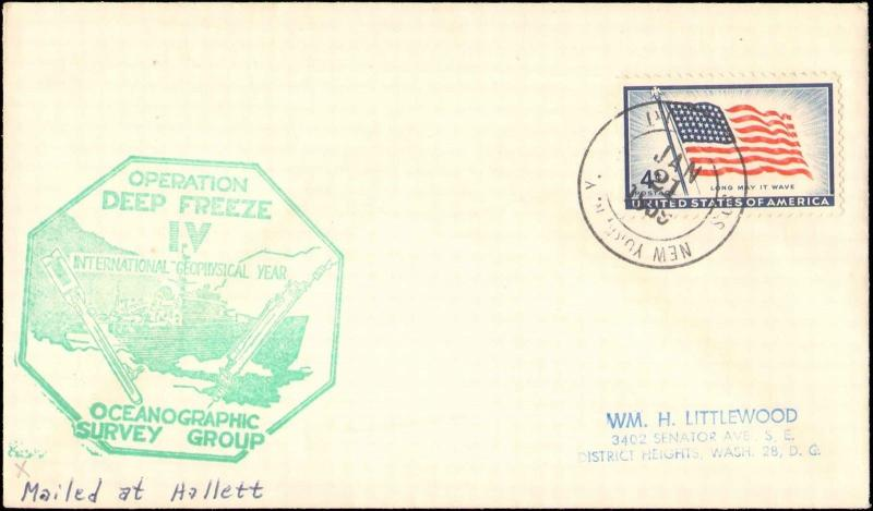 1959 NEW YORK ANTARCTIC CACHET FOR DEEPFREEZE IV + MAILED AT HALLETT