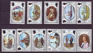 J24541 JLstamps 1983 falkland islands set mnh #360-70 designs