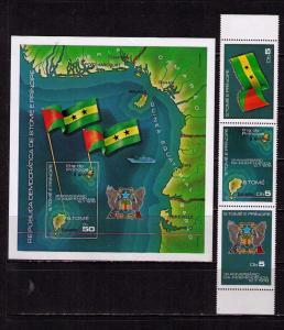 SAINT THOMAS & PRINCE Sc# 487a - 488a MNH FVF Set3 + SS Maps
