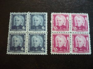 Stamps - Cuba - Scott#534,C108 - Mint Hinged Set of 2 Stamps in Blocks of 4