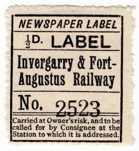 (I.B) Invergarry & Fort Augustus Railway : Newspaper Parcel ½d