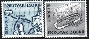 Faroe Islands. 1982. 70-71. Historical events, map, europe-sept. MNH.