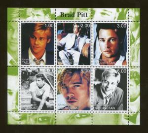 Tajikistan Commemorative Souvenir Stamp Sheet - Actor Brad Pitt