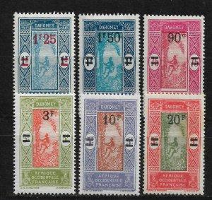 Dahomey 1924-27, Surcharged, Scott # 91-96, VF MLH* (FR-1), Lot-1