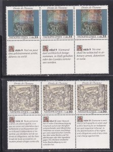 United Nations - Geneva # 193-194, Human Rights Strips of 3 NH, 1/2 Cat.