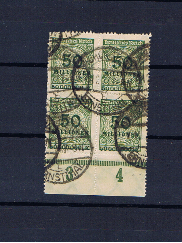 GERMANY 1923 50million ROULETTED BLOCK OF 4 USED