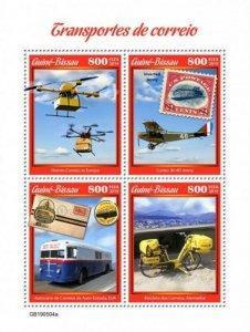 Guinea-Bissau - 2019 Mail Transport on Stamps - 4 Stamp Sheet - GB190504a