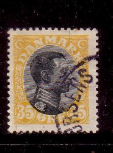 Denmark Sc 115 1919 35 ore yel & blk Christian X stamp used