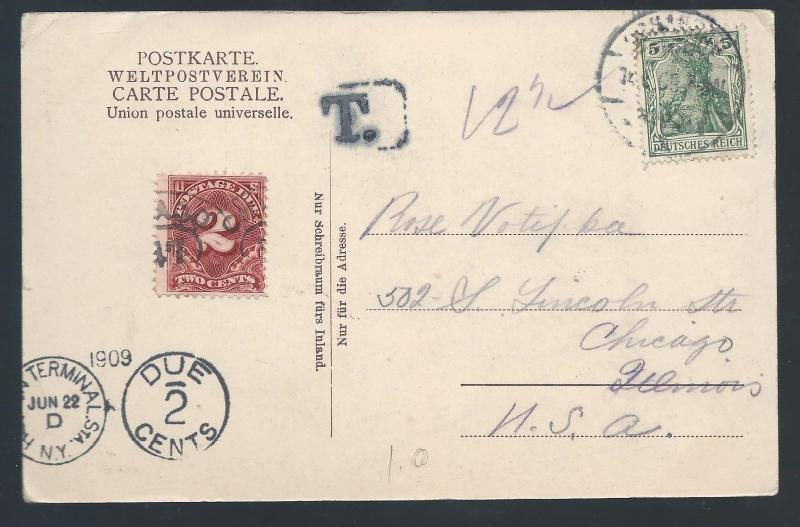 GERMANY 1922 POSTCARD POSTAGE DUE TO USA