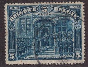 Sc# 121 Belgium King Albert I at Furnes 5fr used Perf 14 CV $125.00