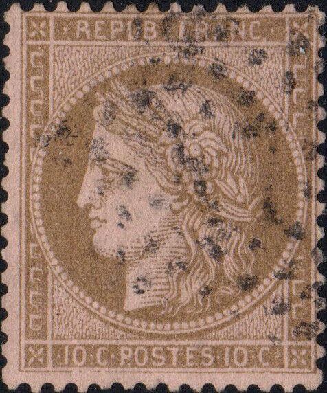 FRANCE - Yv.58 10c brun sur rose obl. Étoile 2 de Paris (R. St. Lazare)