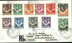 NORTHERN RHODESIA QEII Cover Registered Luwingu Values ½d - 2s/6d 1954 PB225