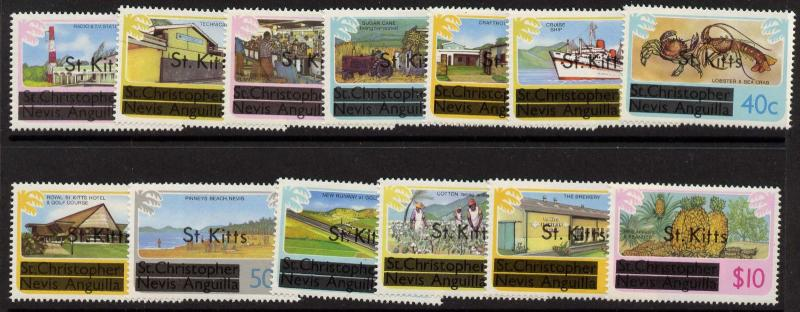 St Kitts 25-37 MNH Ship, Agriculture, Airport, Crab, Tractor, Aircraft