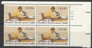 United States 1925  Plate Block of 4  MNH  Year of Disabled