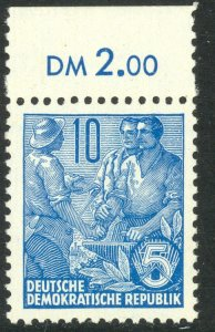 GERMANY DDR 1955 10pf Blue Worker Peasant Intellectual Issue Sc 227 MNH