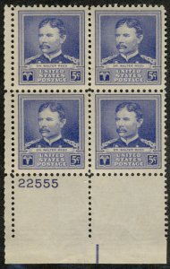 US US #877 PLATE BLOCK, XF-SUPERB mint never hinged, 5c Reed,  Super Nice Plate!