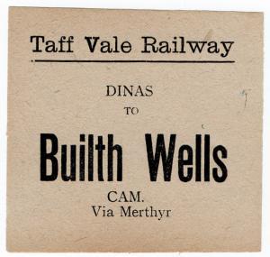 (I.B) Taff Vale Railway : Parcel Label (Builth Wells)
