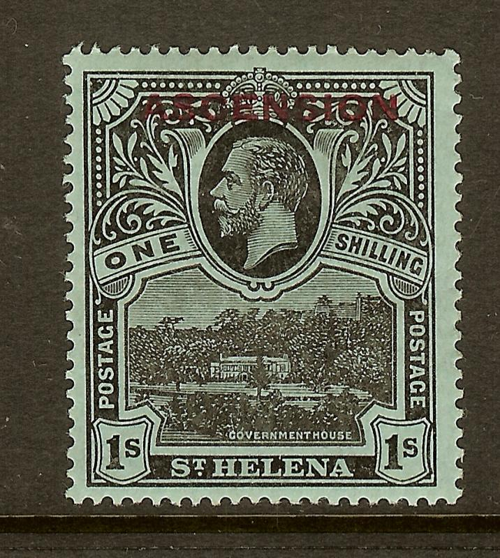 Ascension, Scott #9, 1sh King George V Overprint, MH