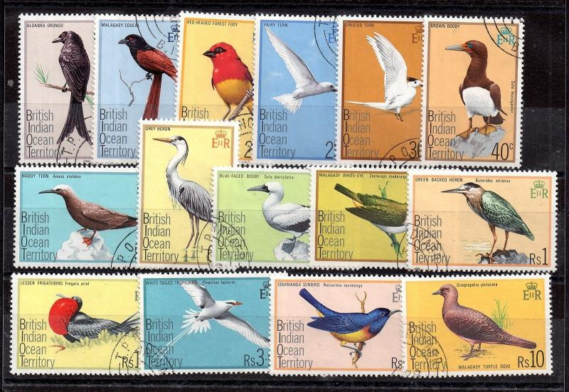 British Indian Ocean Territory 1975 Birds VFU set SG62-76 WS3781