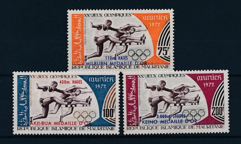 [55405] Mauritania 1972 Olympic games Munich Athletics with overprint MNH