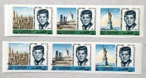 Qatar 1966 New Currency JFK IMPERF strips. Scott 119-119A CV $80+. Mi 252-257