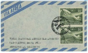 aa3087 - ARGENTINA - POSTAL HISTORY - First Flight Cover : BA / Santa Fe' 1955