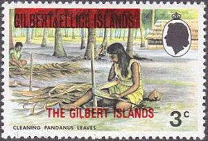 Gilbert Islands # 255 mnh ~ 3¢ Woman Cleaning Pandanus Leaves, overprint