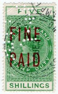 (I.B) New Zealand Revenue : Fine Paid 5/-